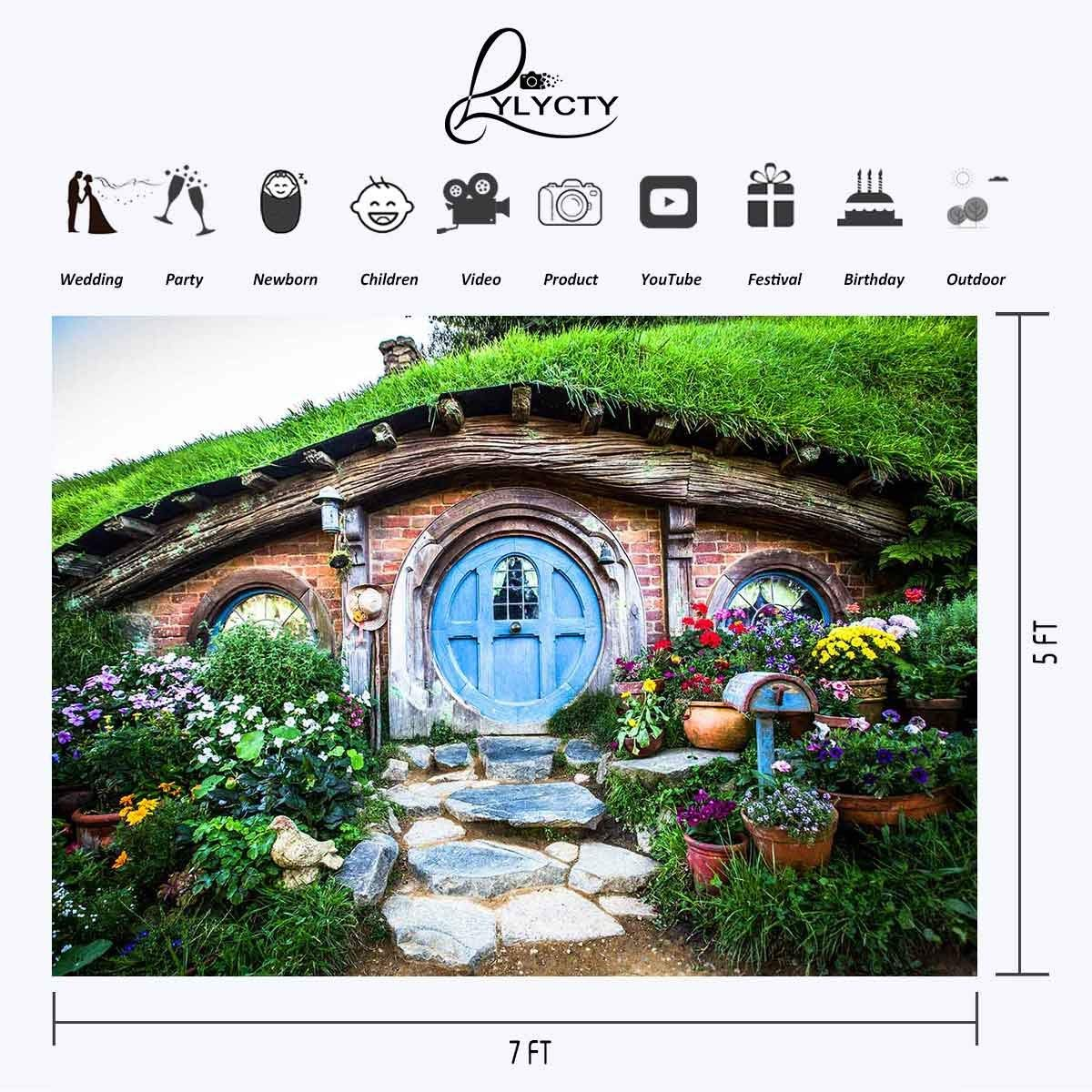 150x220cm Hobbit Cave Backdrop Green Grass Beautiful Garden Stone Steps Road Photography Background in Photo Studio Accessories from Consumer Electronics