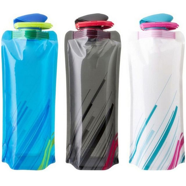 Fashion Portable Ultralight Foldable Silicone Water Bottle Bag Outdoor Sport Supplies Hiking Camping Flask