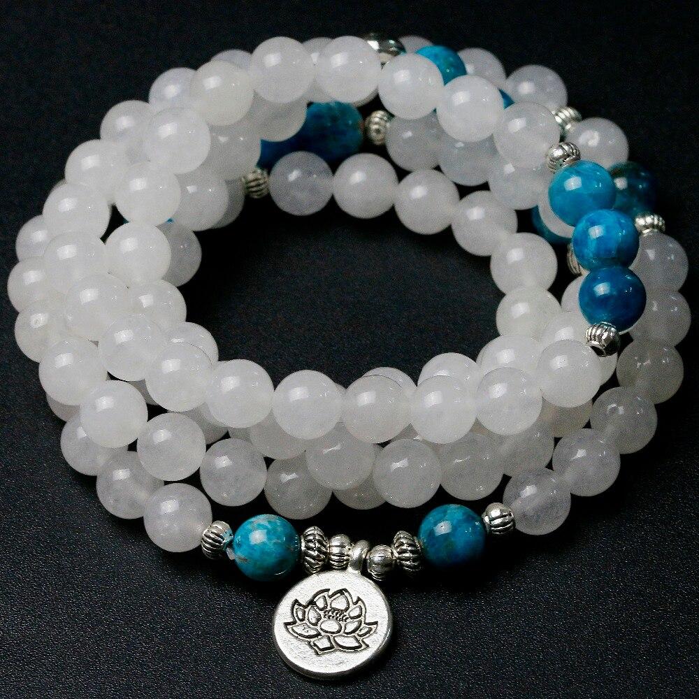 Natural White Chalcedony With Apatite Stone Beads Bracelet Men Women Wing Buddha Yoga Lotus Charm Necklace Unisex Mala Jewelry