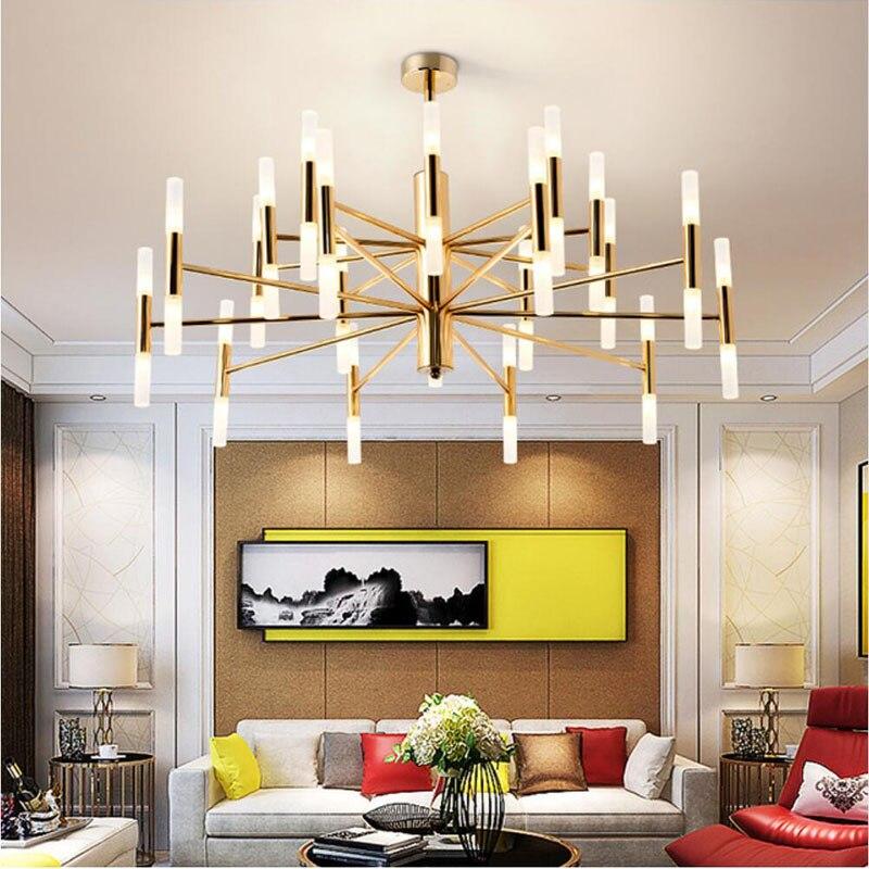 Moderne or métal Led lustres salon acrylique bâtons Led lustre lumières chambre suspendus luminaires électriques