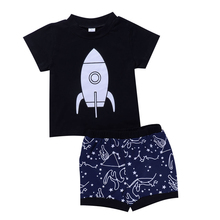 Baby Clothing Suits Black Rocket t-shirt Tops+Constellation Space Print Pants 2pcs Bebe Clothes Sets
