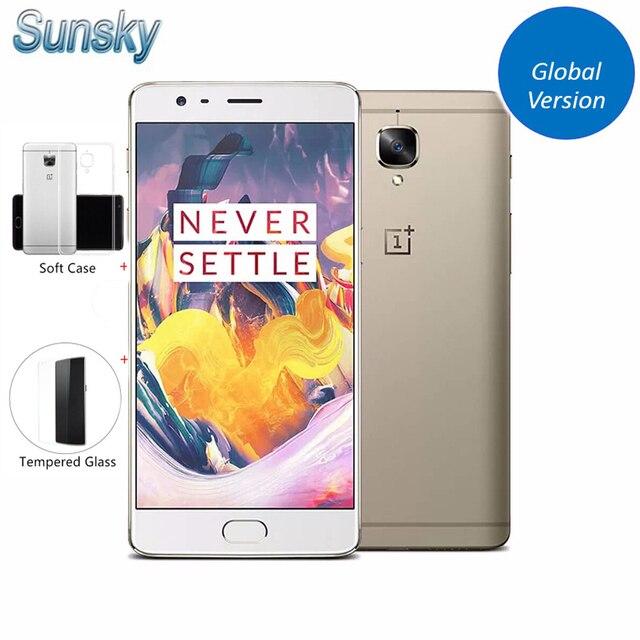 """Оригинал oneplus 3 t a3003 1920*1080 p 5.5 """"snapdragon 821 quad core смартфон 6 ГБ ram 64 ГБ rom touch id 16.0mp nfc мобильный телефон"""