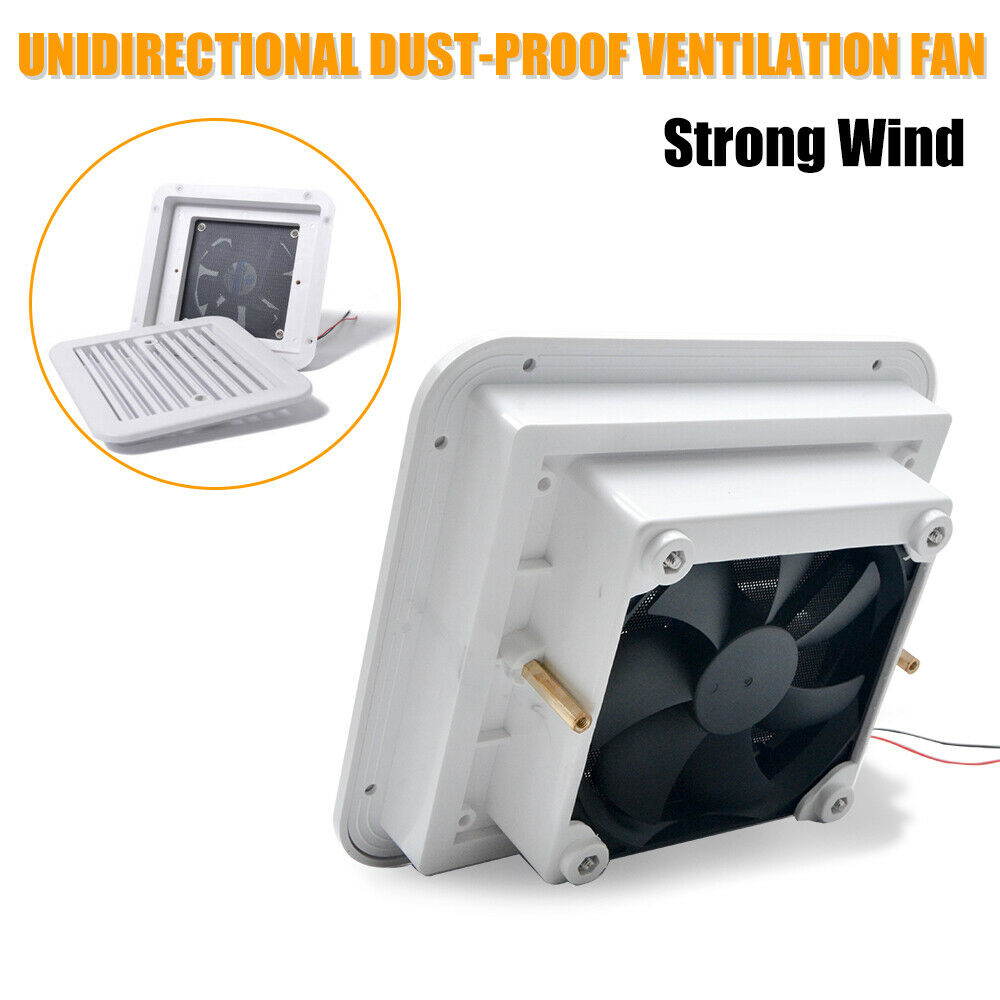 12V Ventilation Fan White Caravan Motorhome Side Exhaust Air Vent Dust proof New For RV Camper Motorhome Trailer Boat Yacht