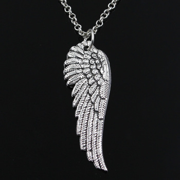 New Fashion Angel Wings Pendants Round Cross Chain Short Long Mens Womens Silver Color  Necklace Jewelry Gift 1