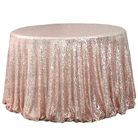 New 72 Inch Round Party Tablecloth Rose Gold Sequins Tablecloth Wedding Cake Tablecloth Tablecloth Decoration