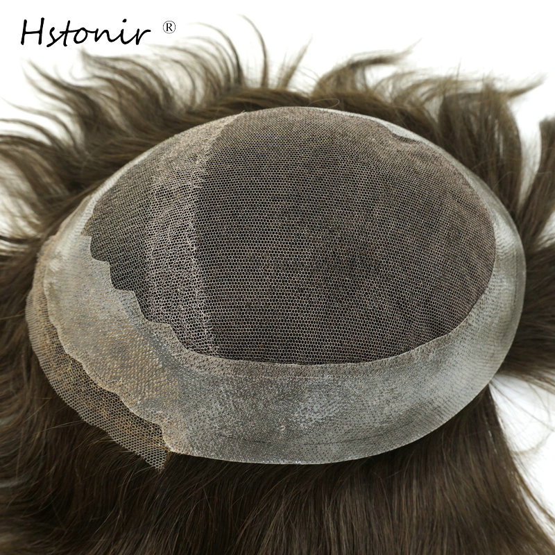 Hstonir Mens Toupee French Lace Frontal Pu Back Men Wig Indian Remy Hair Replacement System Stock H031