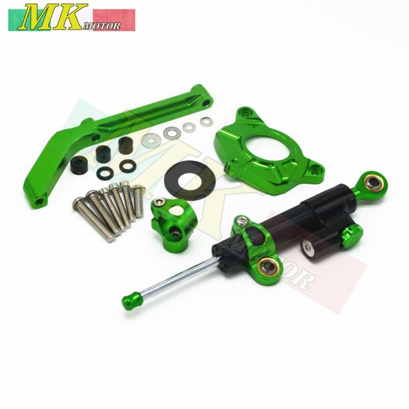 ФОТО For KAWASAKI Z1000 2014 2015 2016 Motorcycle Accessories Street Bike Steering Damper Mounting Kit Stabilizer Adjustable Green