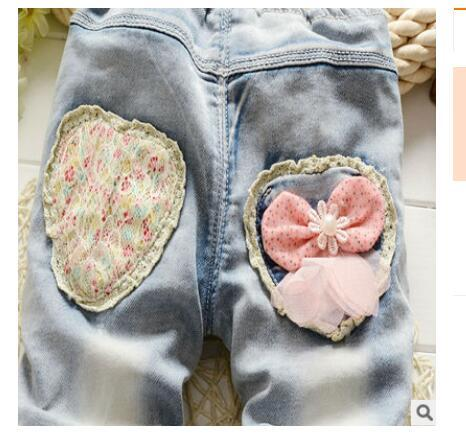 Fashion Bow Decoration Cotton Jeans for Baby Girls