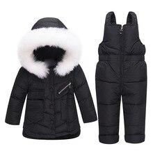 2018 New Winter Baby Boys Girls Duck Down Snowsuits Jacket Children Fur Parkas Ski Set Russia -30 Degrees Kids Clothes Overalls
