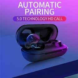 TWS Bluetooth 5,0 наушники настоящие БЕСПРОВОДНЫЕ стереофонические наушники с зарядным чехлом стерео чистый звук беспроводная Спортивная