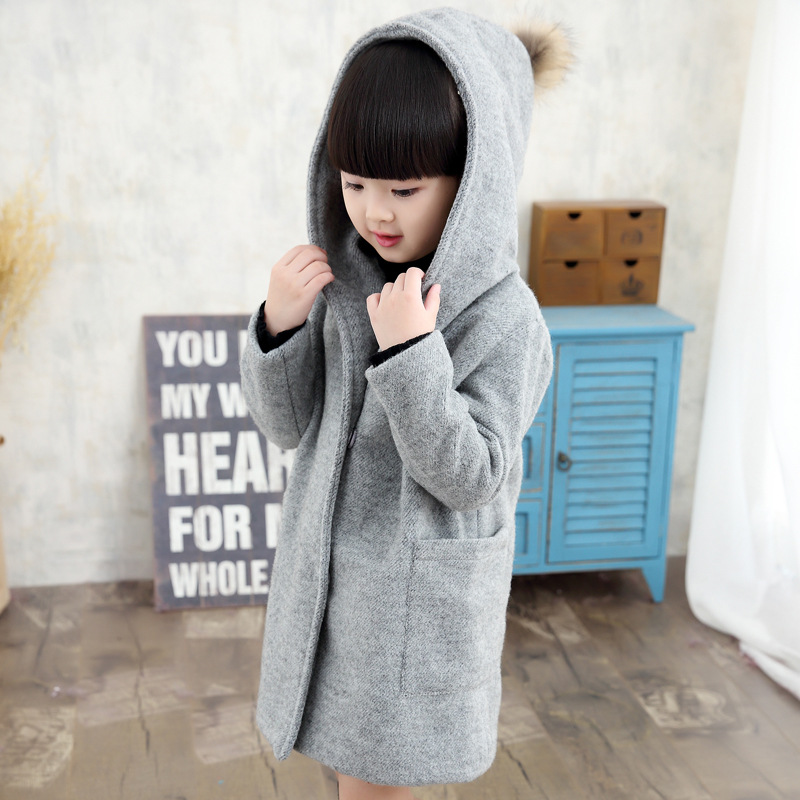 ФОТО Pink Warm Winter Girls Coat Red Fur Collar Wool Long Outwear Children Winter Coat 2017 Girl Clothes For 6 8 10 12 14 T AKC166007