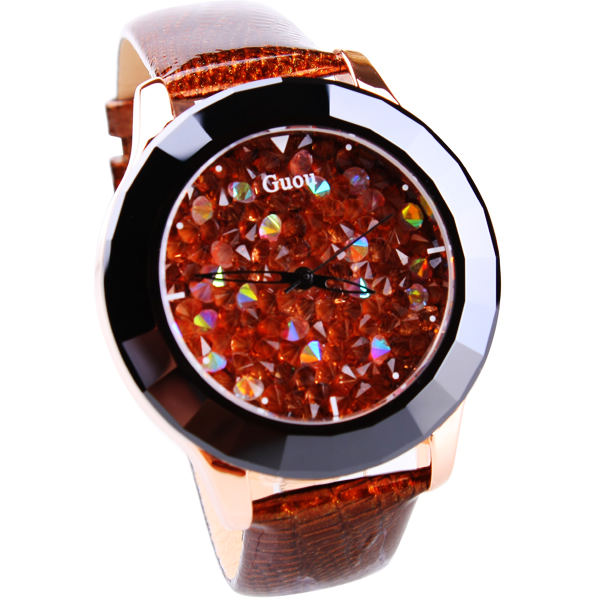 HK Brand Guou Women's Good quality genuine leather strap Luxury watches first grade rhinestone fashion Clock Ladies Wristwatches