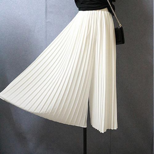 Fashion Women Elegant Black Wide Leg Pants Loose Ol Casual Capris Chifffon Mid Waist Trousers Pantalon Femme AW485