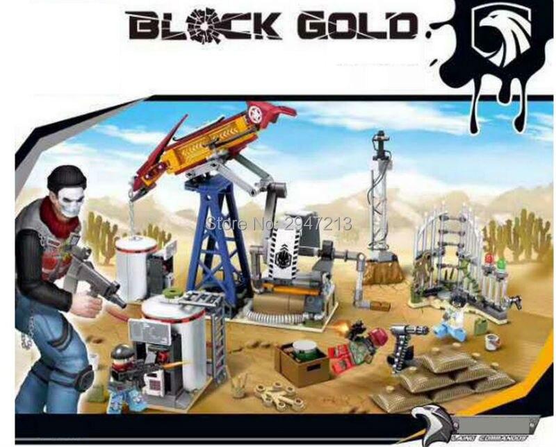 forró kompatibilis LegoINGlys katonai fekete arany terv Hadsereg olaj fúrás alap építési tégla számok Fegyverek tégla játékok ajándék
