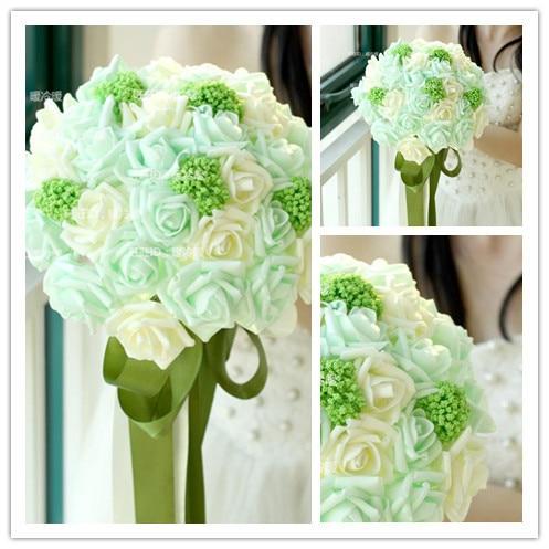 Beautiful Wedding Bouquet Bridal Bridesmaid Flower wedding bouquet artificial flower rose bouquet Green bridal bouquets
