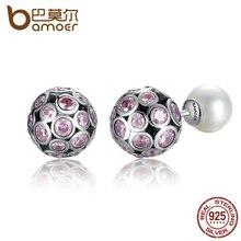 Bamoer 2016 new romantic classic diseño plata de ley 925 pink corazón dulce amor stud pendientes con perlas de joyería posterior sce015