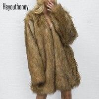 Heyouthoney 2017 New Autumn Winter Elegant Women Fake Fur Jacket Long Sleeve V Neck Ladies Fur