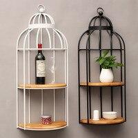 American Retro промышленного ветер кафе стеллаж для хранения стене висит стеллажи Bird Cage Home декоративные украшения Деревянный Утюг