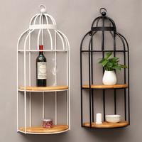 American Retro Industrial Wind Bar Cafe Storage Rack Wall Hanging Racks Bird Cage Home Decorative Decorations Wooden Iron