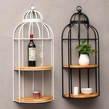 цена на American Retro Industrial Wind Bar Cafe Storage Rack Wall Hanging Racks Bird Cage Home Decorative Decorations Wooden Iron