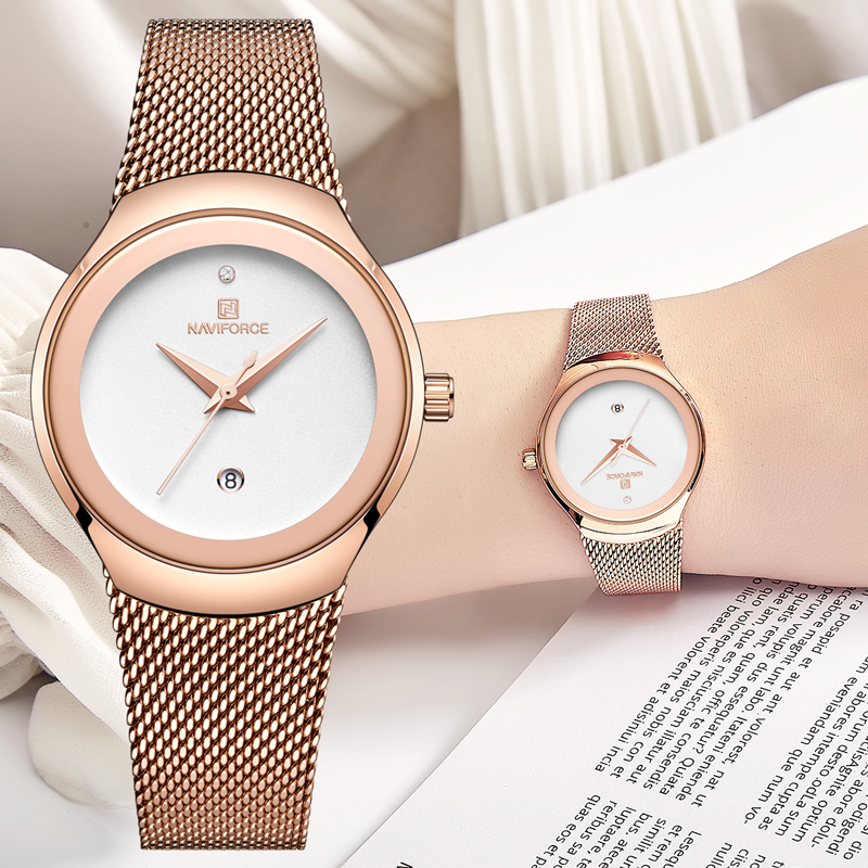 Women Watches NAVIFORCE Top Luxury Brand Female Fashion Analog Quartz Watch Ladies Simple Ultra-thin Rose Gold White Wrist Watch