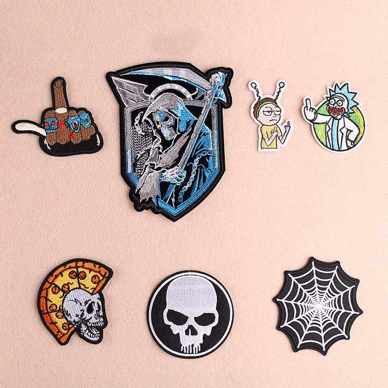 1PCS Spider web Punk Death Badge Wind Cloth Stickers Pharaoh Skull DIY Knitting Embroidery  Stitch Repair Jacket Coat Decoration