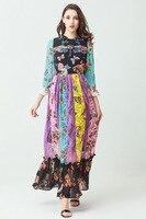 European floral print flare sleeve chiffon bohemian dress 2018 soring runways applique elegant dress Chic birthday party dress