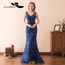 Alagirls 2019 New Arrival Mermaid Evening Dresses Elegant Slim Prom Dress V Neckline Sparkely Party Dress Graduation Party Gowns champagne new arrival juniors graduation dress glitz mermaid pageant dresses for juniors girls prom gowns for special occasion