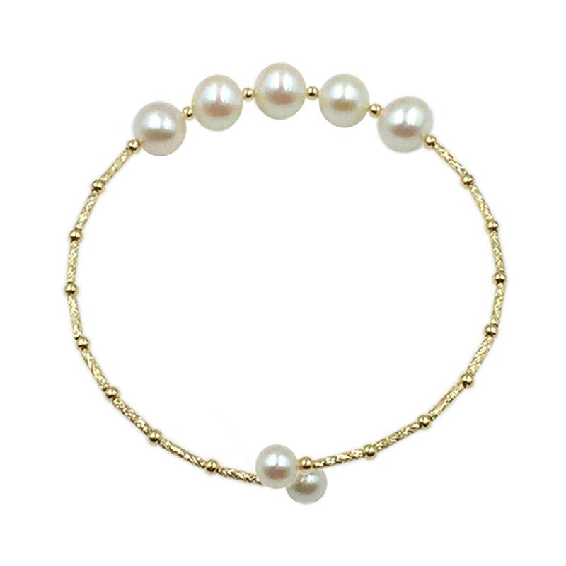 Sinya Natural pearls 18k gold tube Bangles bracelet for women girl Mum girl lover diameter 55mm