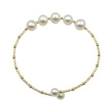 Sinya Natural pearls 18k gold tube Bangles bracelet for women girl Mum girl lover diameter 55mm pearl diameter 7-8mm 2019 News