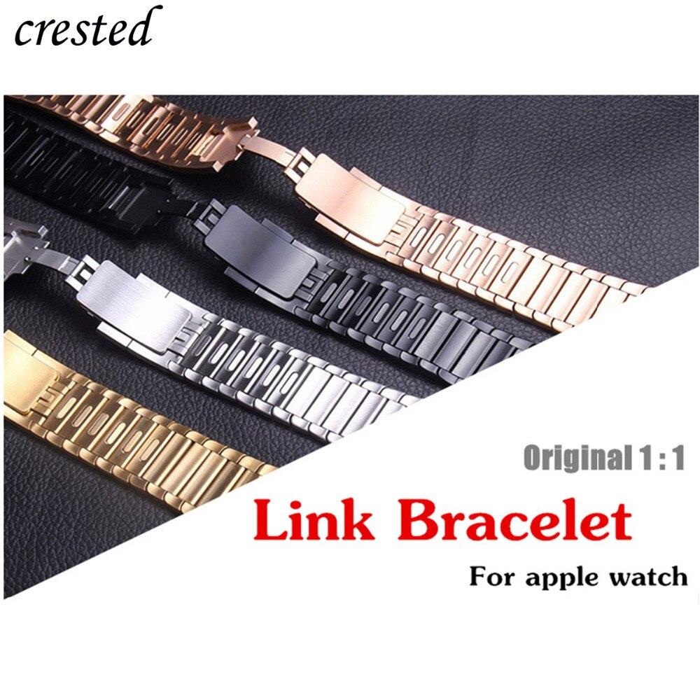 Lien bracelet Pour Apple Montre bande 4/3 iwatch bande 42mm/44mm 38mm 40mm Montre bracelet acier inoxydable djustable métal ceinture Gen.6