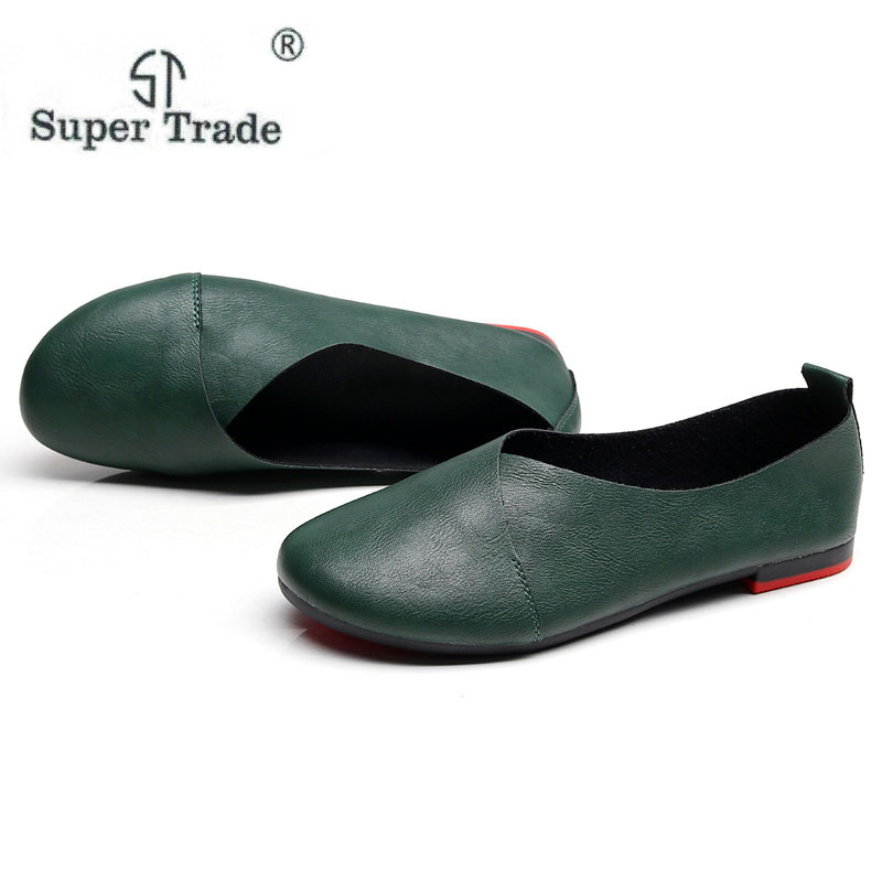 ST SUPER TRADE Vintage Art handmade shoes Leather Flats Women Shoes Shallow mouth Casual Fashion Women Shoes Plus Size 41-43 a21 big size 2016 spring fashion pointed shoes women flat shallow mouth candy colored women s shoes size foreign trade