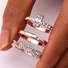 3 шт./компл. Мода Бесконечность набор колец для Для женщин обувь для девочек с украшением в виде кристаллов закрученное кольцо для влюбленных пар; цвет золотистый; женские Обручение Свадебные украшения
