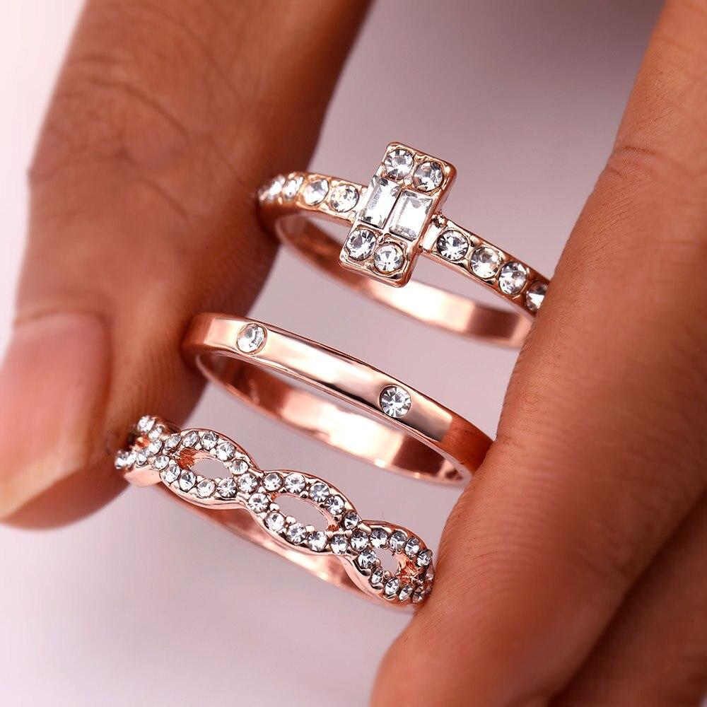 3 шт./компл. Мода Бесконечность набор колец для женщин и девочек с украшением в виде кристаллов закрученное кольцо для влюбленных пар; цвет золотистый; женские ювелирные изделия для помолвки, свадьбы, 2018 Новый