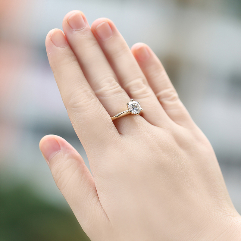 DovEggs Solitare Ring 14K 585 Yellow Gold 2ct 8mm F Color Hearts - Šperky - Fotografie 6