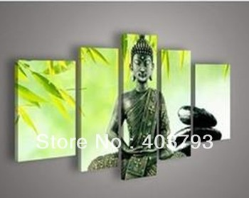 Modern Abstract Figure of Buddha Green Oil Painting Canvas Wall Art Modern Style Decorative Paintings Home Decor