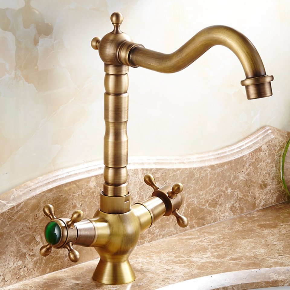 Basin Faucets Antique Bronze Finish Brass Jade Swivel Bathroom Sink Faucet 2 Lever Deck Toilet Washbsin Mixer Water Taps WC Taps free shipping antique bronze finish 360 degree swivel brass faucet bathroom basin sink mixer bath