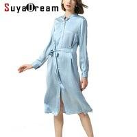 Женское платье из органической кожи 100% натуральный шелковый атлас с длинным рукавом с поясом, платье для женщин, воротник стойка до колена,