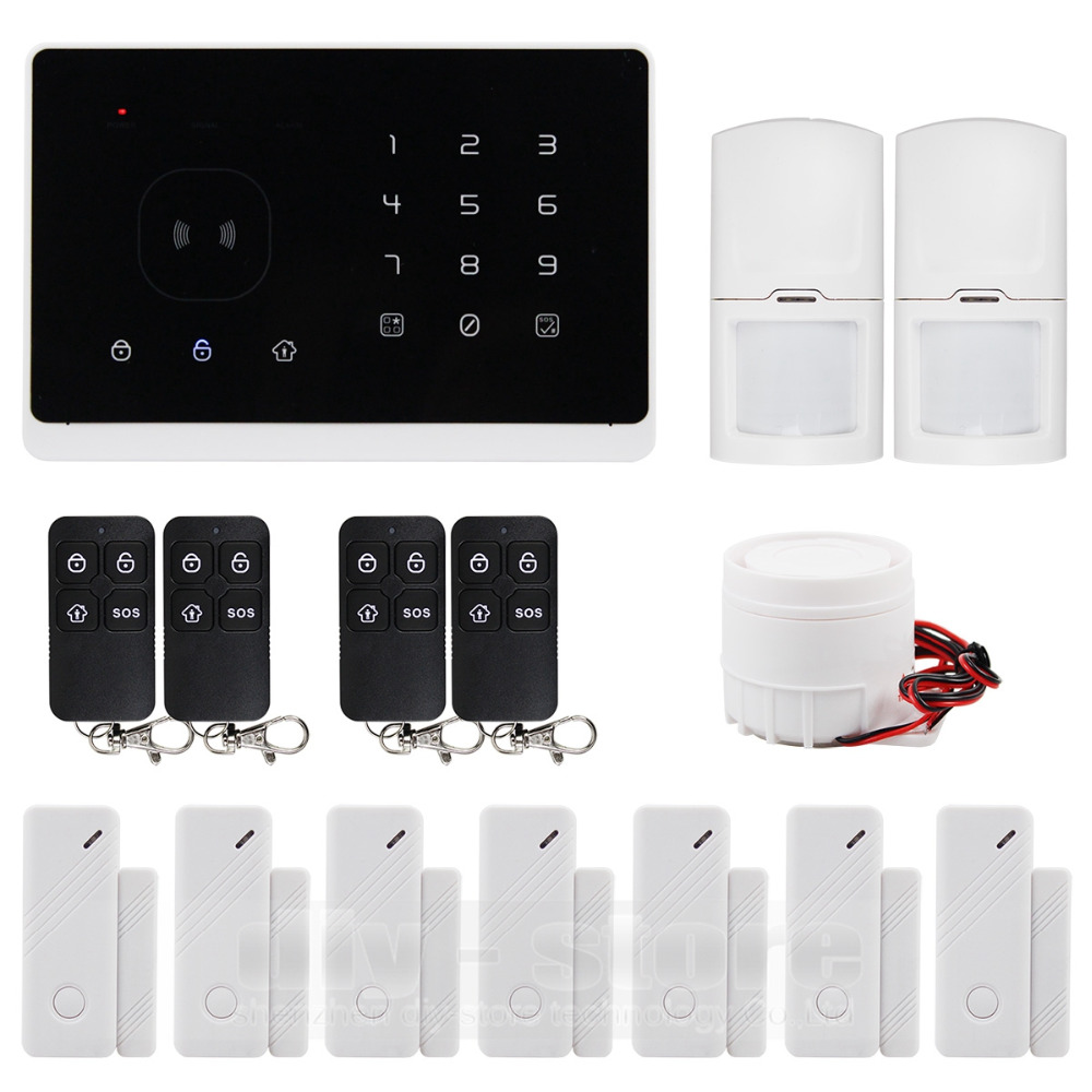 DIYSECUR Wireless&Wired GSM Home Security Burglar Alarm System + IOS/ Android App +2 PIR Sensor + 7 Door Sensor + Remote Control kerui w2 wifi gsm home burglar security alarm system ios android app control used with ip camera pir detector door sensor