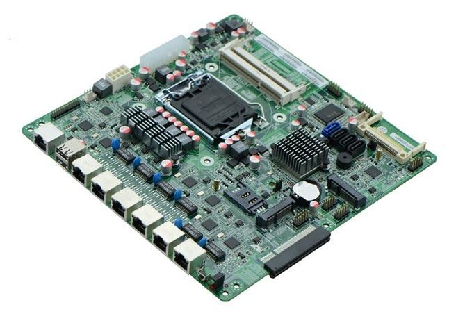 1 * COM, 1 * JVGA1 industrielle carte mère soutien i3 i5/i7 processeurs carte mère, 6 Gigabit LAN Carte Mère Pour Routeur/Pare-Feu