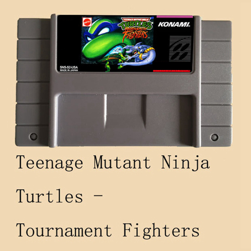 Teenage Mutant Ninja Turtles Tournament Fighters USA Version 16 bit Big Gray Game Card For NTSC Game Player