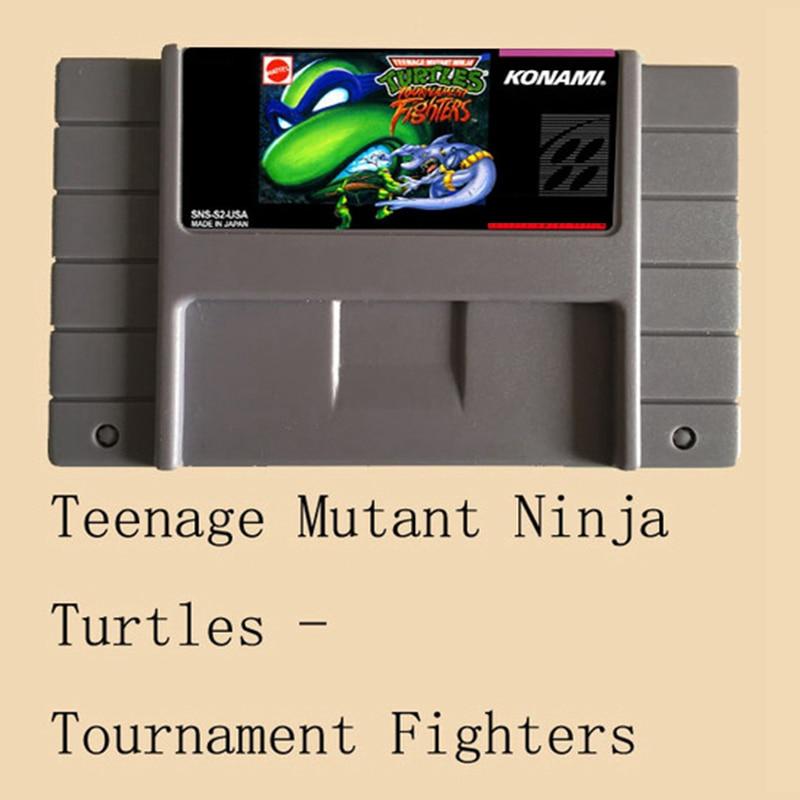 Teenage Mutant Ninja Turtles Tournament Fighters USA versión 16 poco grande gris tarjeta de juego para NTSC Game Player