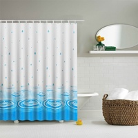Blue PEVA Shower Curtain Waterproof Mold Proof Eco Friendly Endless Bath Curtain Hot Bathroom Products