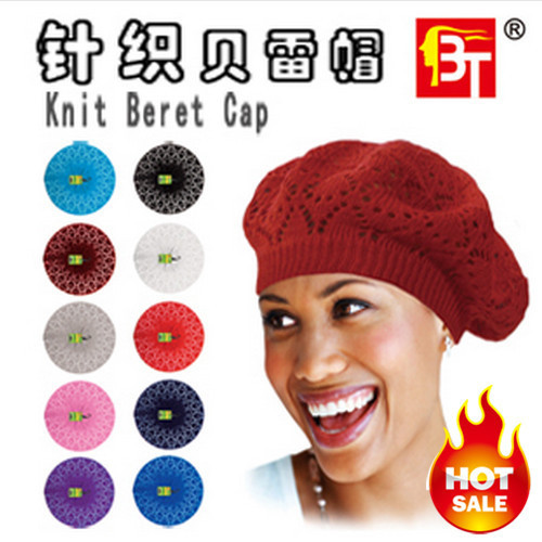 Hot!!Factory Direct Sales!Knitted Cutout Crochet Beret Knit Beret Cap, Mixed Color Berets Hat!Free Shipping