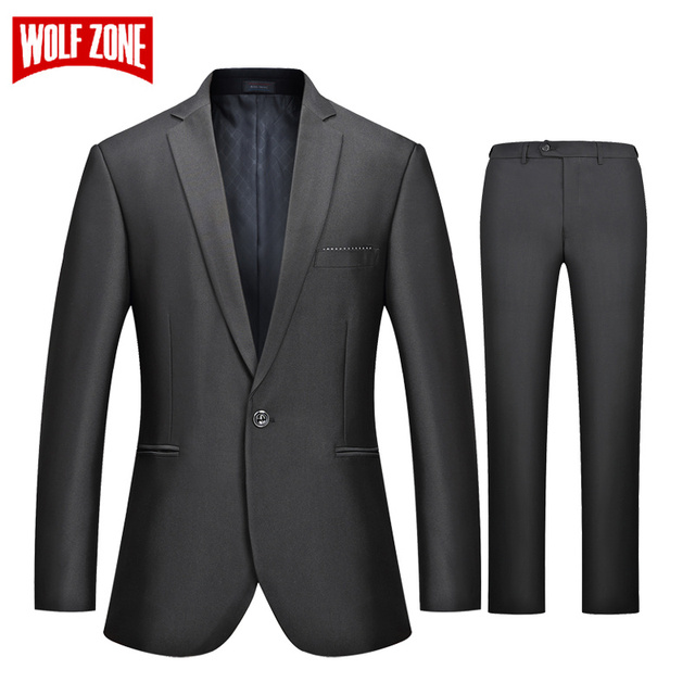 62502aa8d7 WOLF ZONE Brand Business Casual Suit Men Slim Fit Suits with Pants Mens  Formal Wedding Suit Mens Party Jacket Luxury Blazer