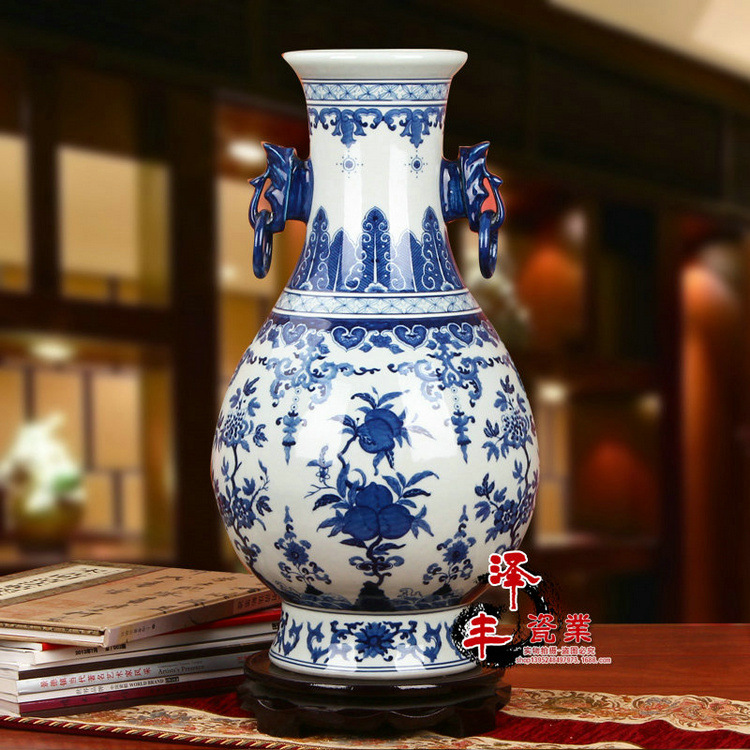 Qianlong ceramic dynasty ancient home decorate porcelain for Decorating with blue and white pottery