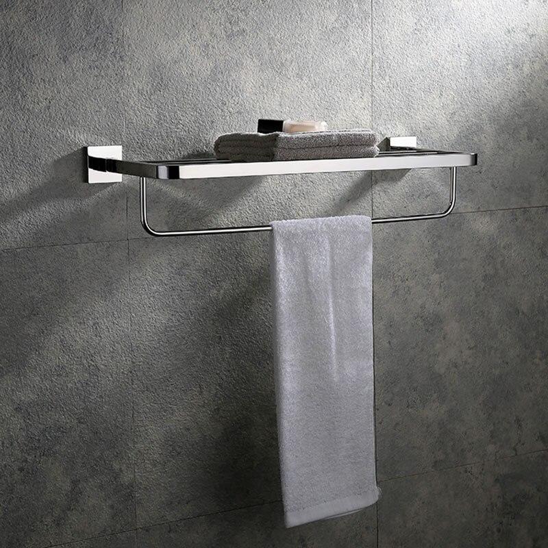Bathroom Accessories Bath Towel Rack Stainless Steel Mirror Polishing Chrome Wall Mounted Towel Rail Holder Toilet Bar