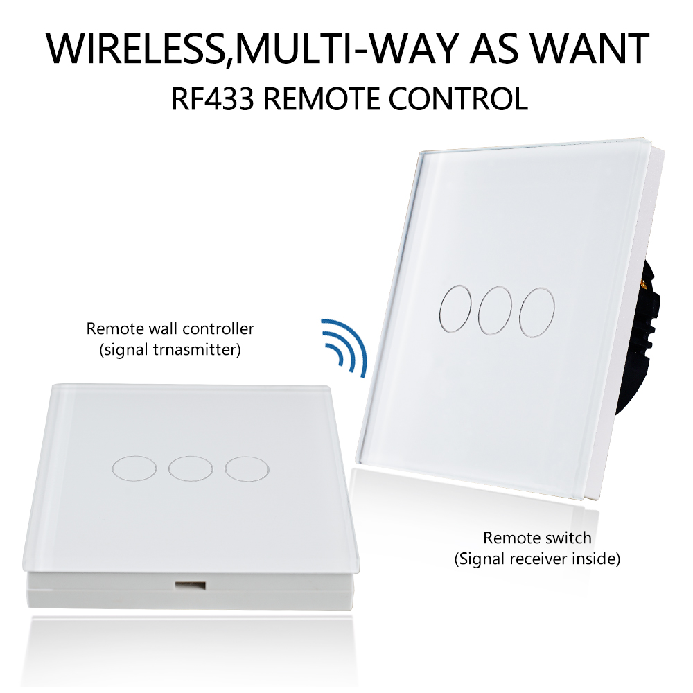 Bingoelec 3 Gang 1 Way Remote Wall Switch With 3 Gang Remote Controller RF 433 92