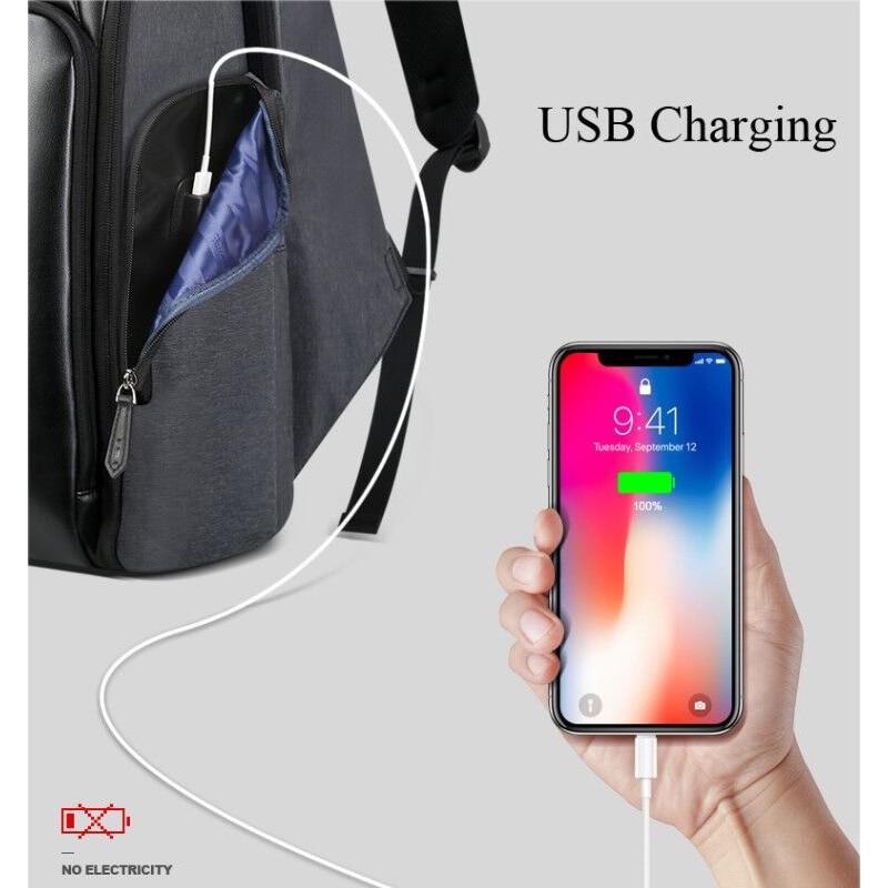 BOPAI 2018 جديد الرجال على ظهره USB شحن حقيبة 15.6 بوصة محمول على ظهره مكافحة سرقة قدرة عالية للماء الرجال حقيبة السفر-في حقائب الظهر من حقائب وأمتعة على  مجموعة 2