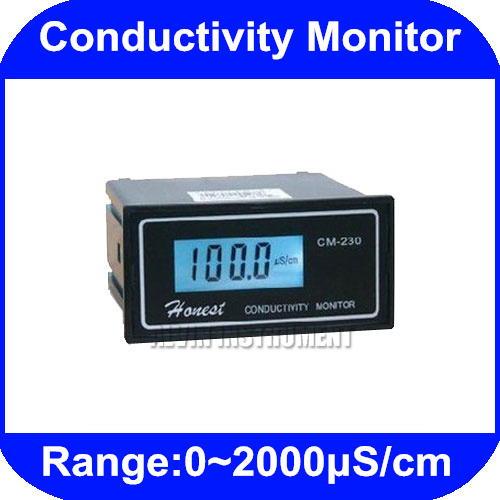 Free Shipping Industrial Online Conductivity Monitor Tester METER Analyzer 0-2000us/cm ATC CM-230 conductivity instrument electrical conductivity tester cm 230 shanghai chengci 1 standard edition